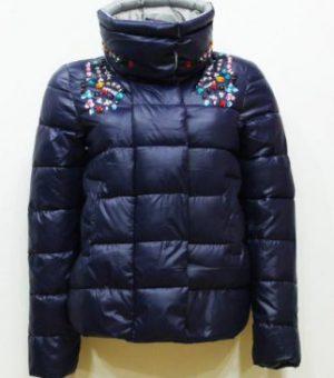 Куртка пуховик (со сложной фурнитурой, стразами, бисером)